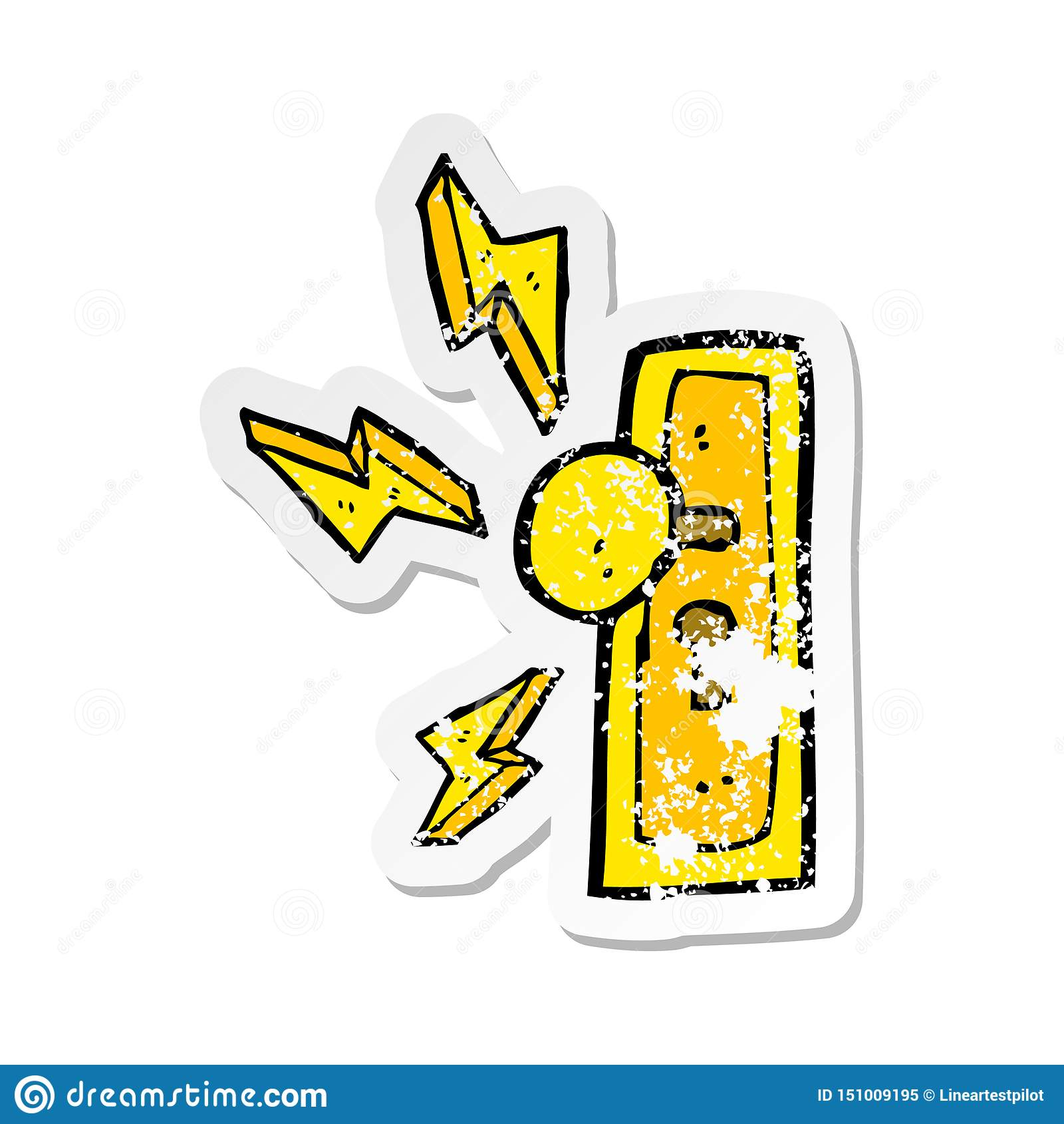 A creative retro distressed sticker of a cartoon door knob