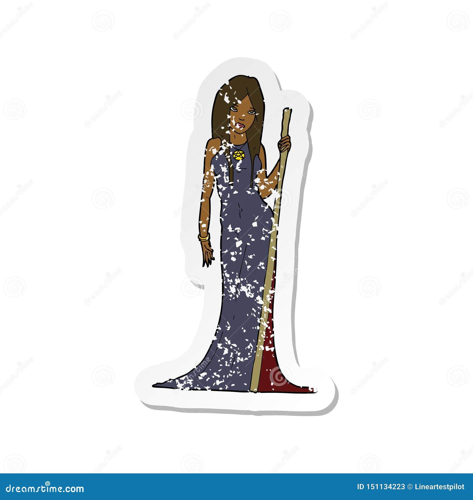 A creative retro distressed sticker of a cartoon sorceress