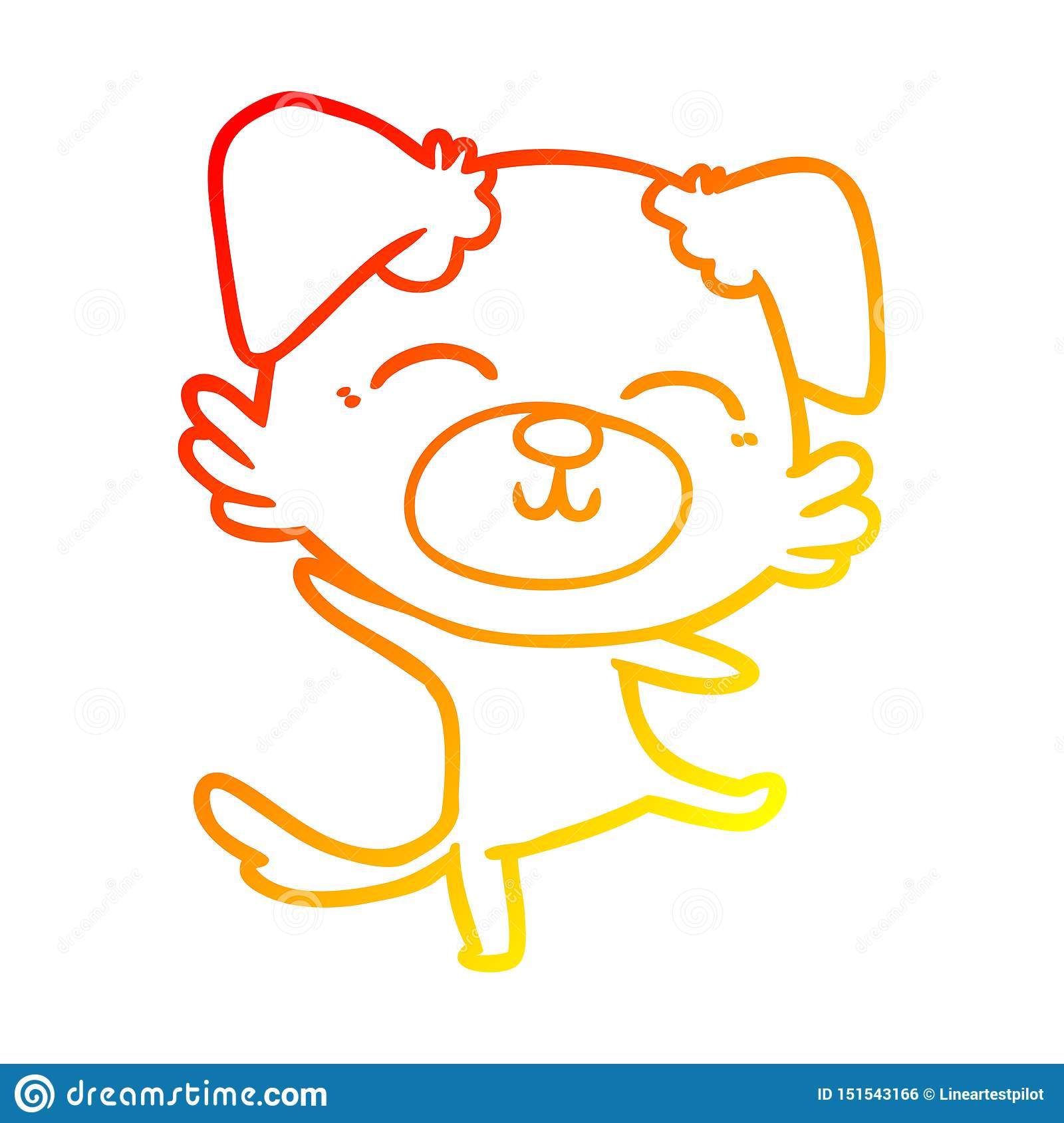 A Creative Warm Gradient Line Drawing Cartoon Dog Doing A Happy Dance Stock Vector Illustration Of Doodle Dance 151543166