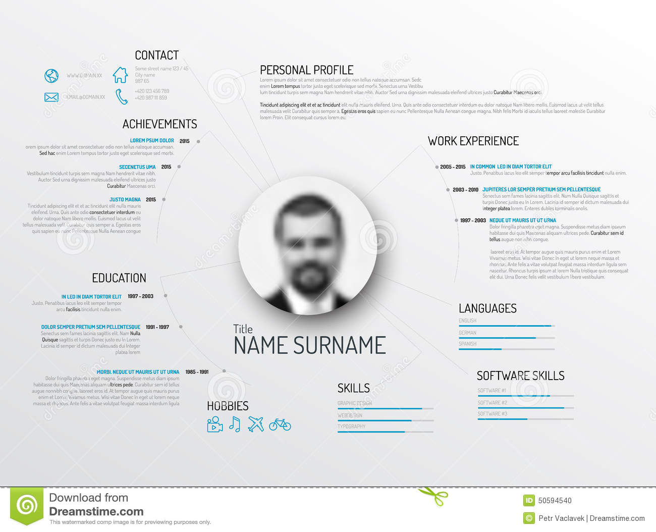 original cv    resume template stock illustration
