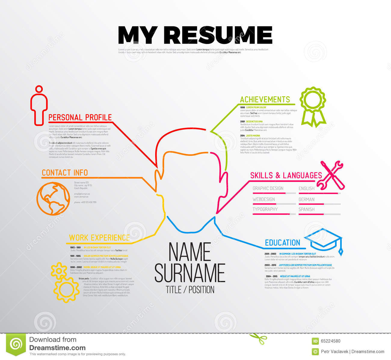 original cv    resume template vector illustration