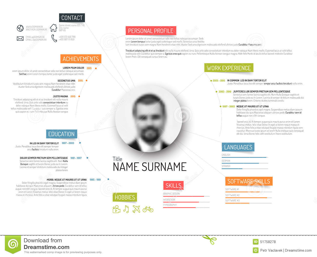 Original Cv / Resume Template  Colorful Resume Templates
