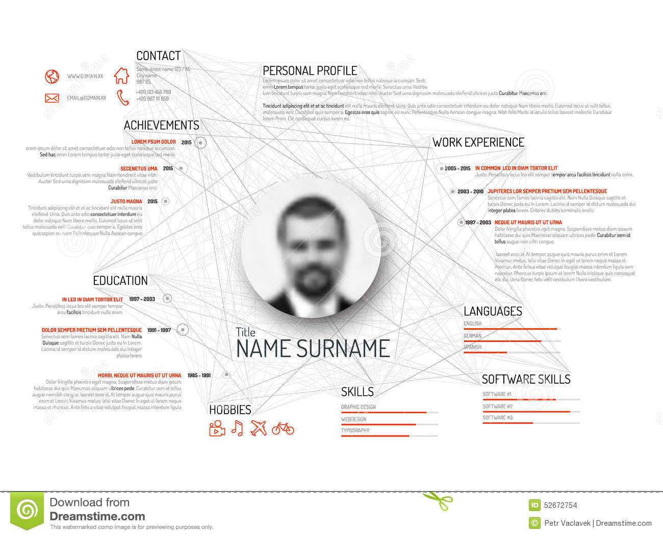 original cv    resume template stock vector
