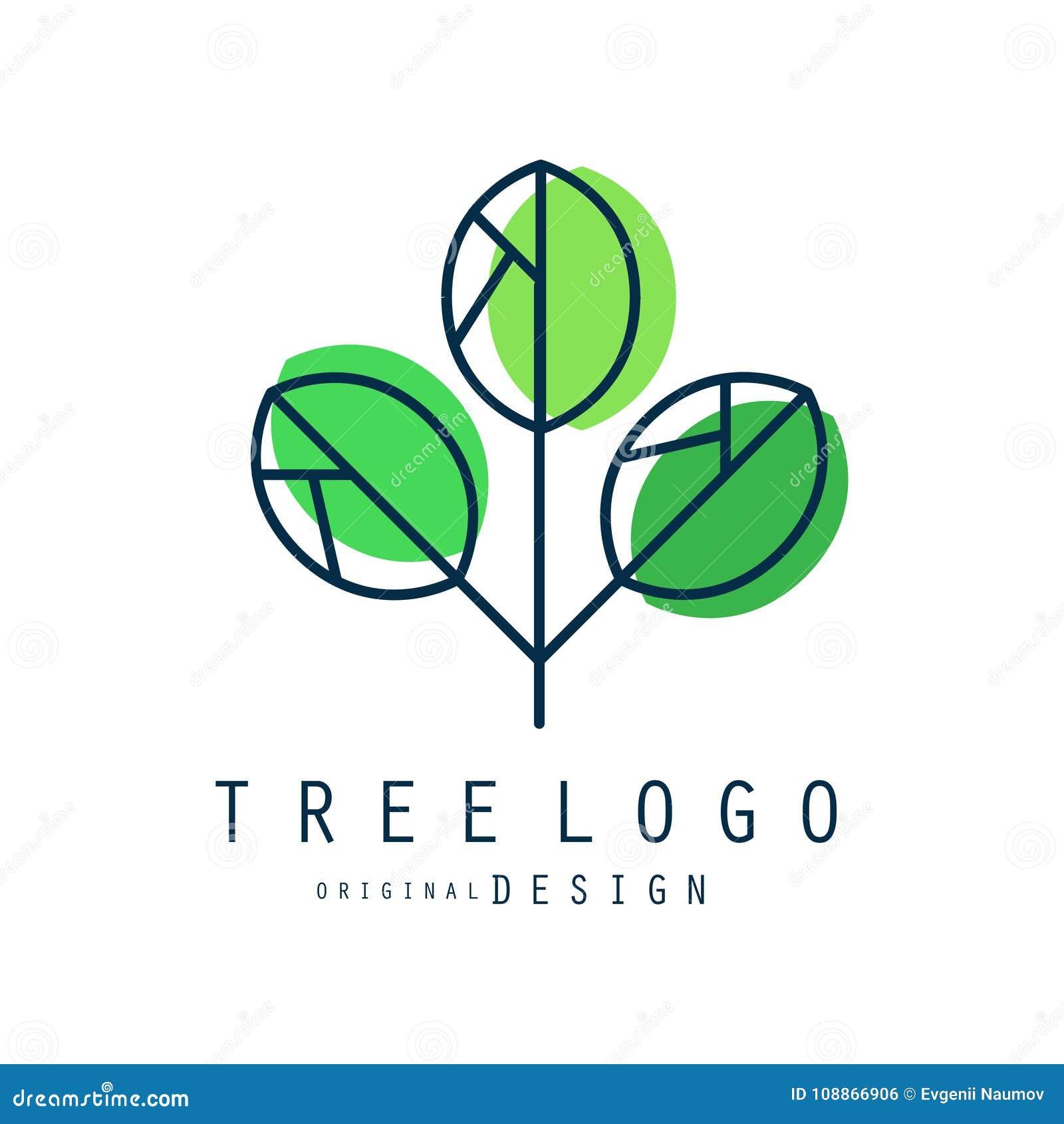 Original- design för trädlogo, grön eco och bio emblem, abstrakt organisk beståndsdelvektorillustration