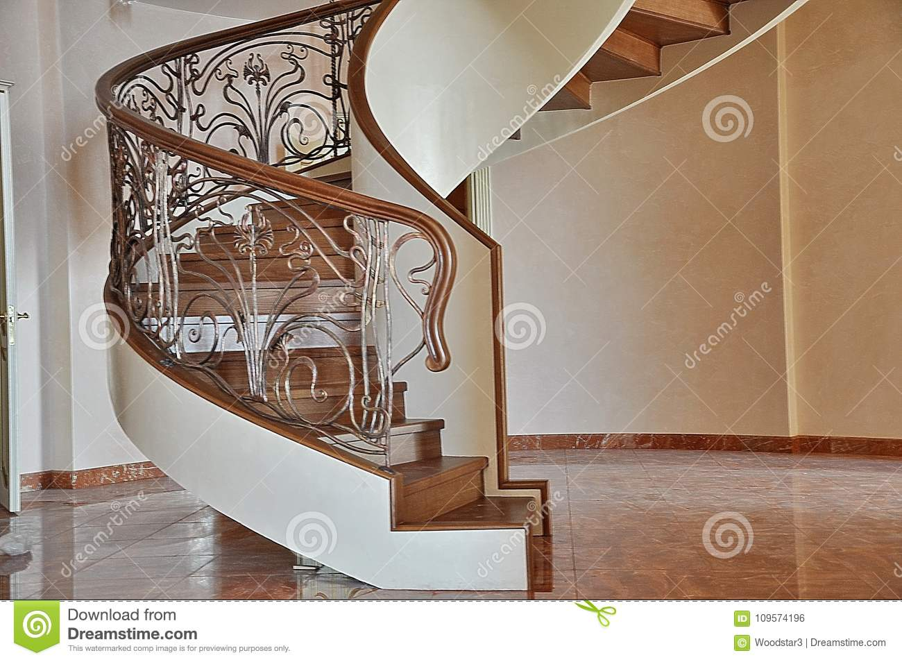 Spiral Spiral Staircase Inside The House Stock Photo Image Of