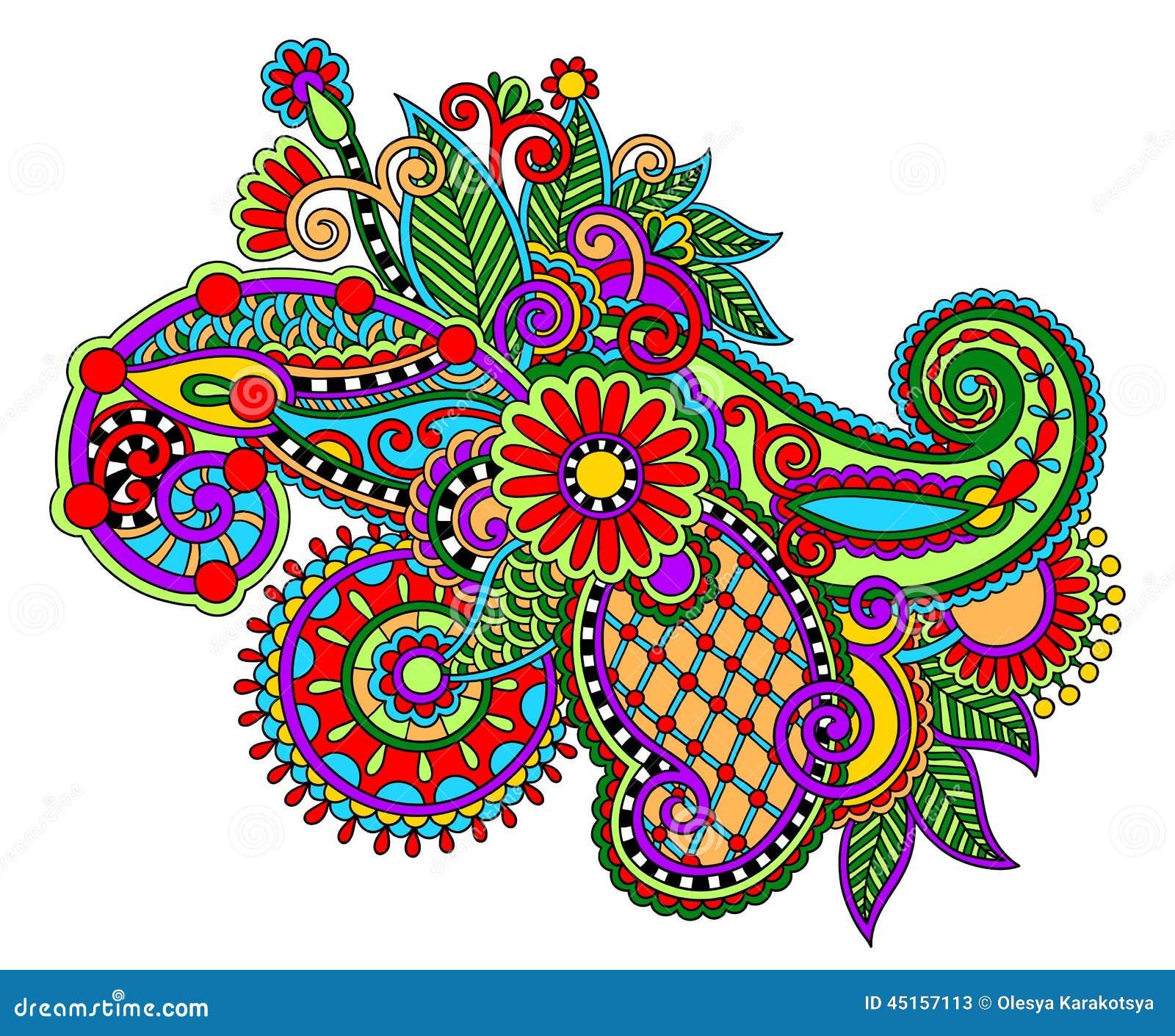 Original digital draw line art ornate flower