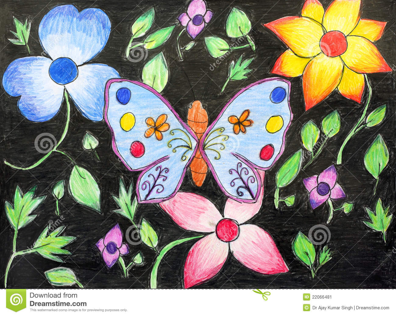 Original Drawing Of Beautiful Butterfly And Flower Stock ...