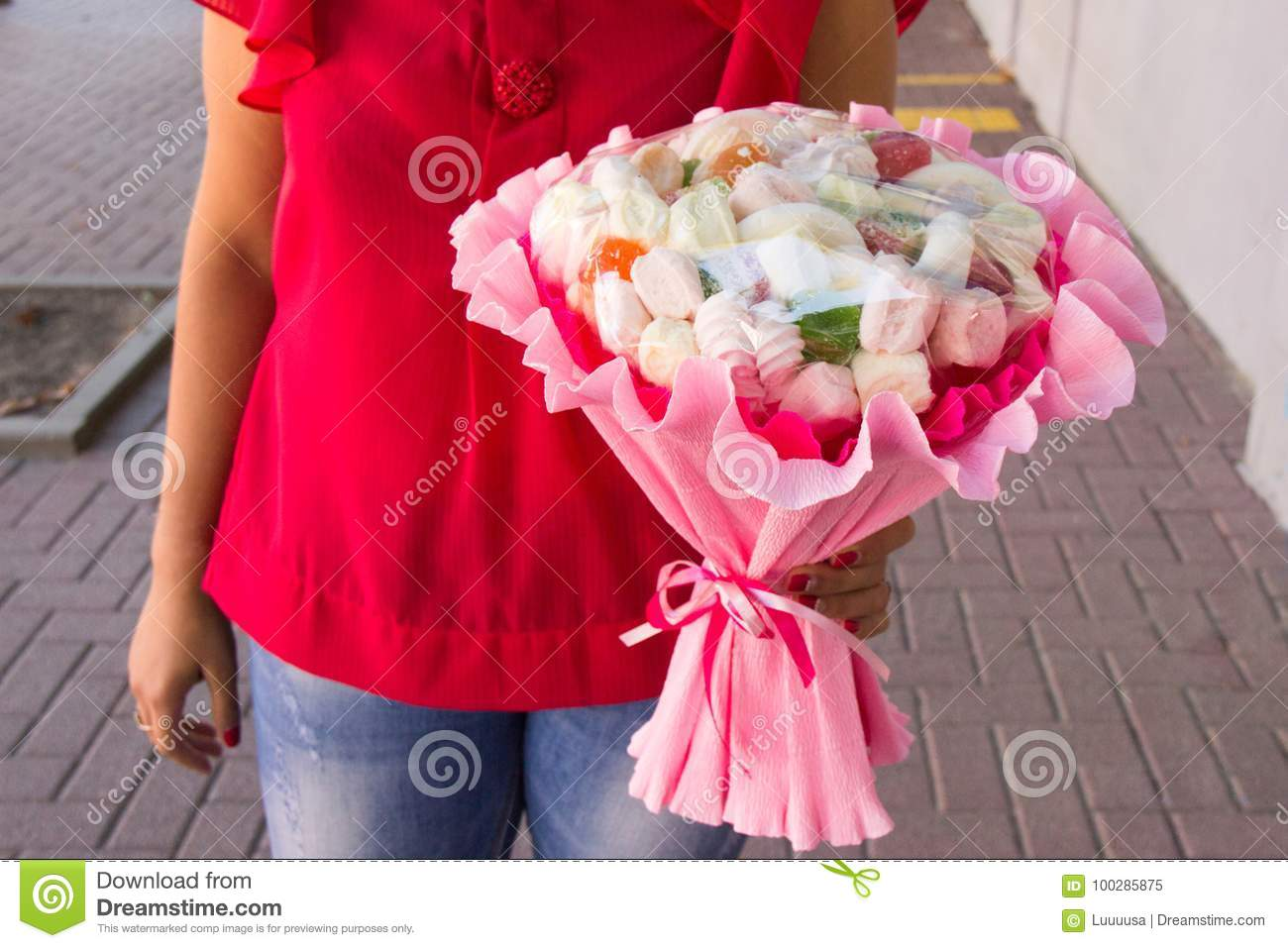 The Original Edible Bouquet Of Marmalade, Marshmallow In Woman`s ...