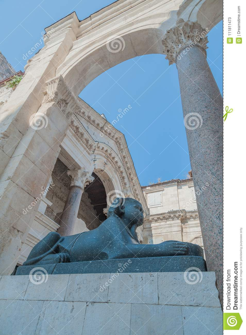 Original Egyptian sphinx - one is on Peristil square, the other in front of Jupiter`s temple or St. John`s church. They were broug