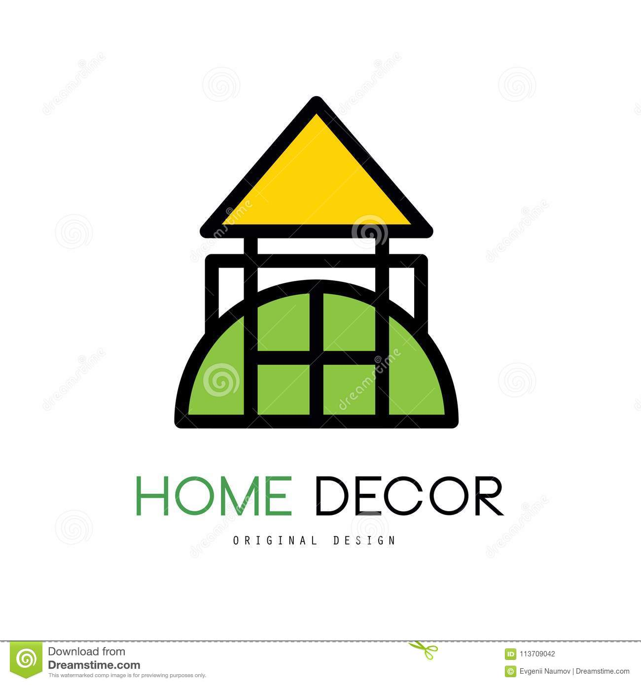 Original Emblem For Shop With Things For House Decor. Linear Vector Logo  For Home Improvement