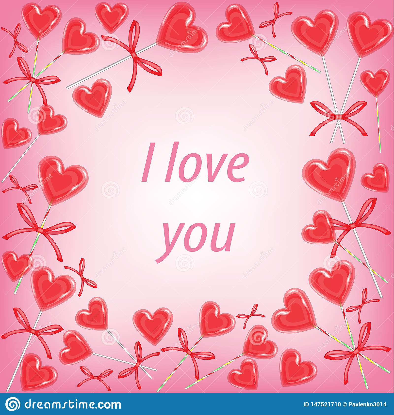 Original frame for photos and text. Sweet heart candy. A perfect gift for Valentine s Day. Vector illustration