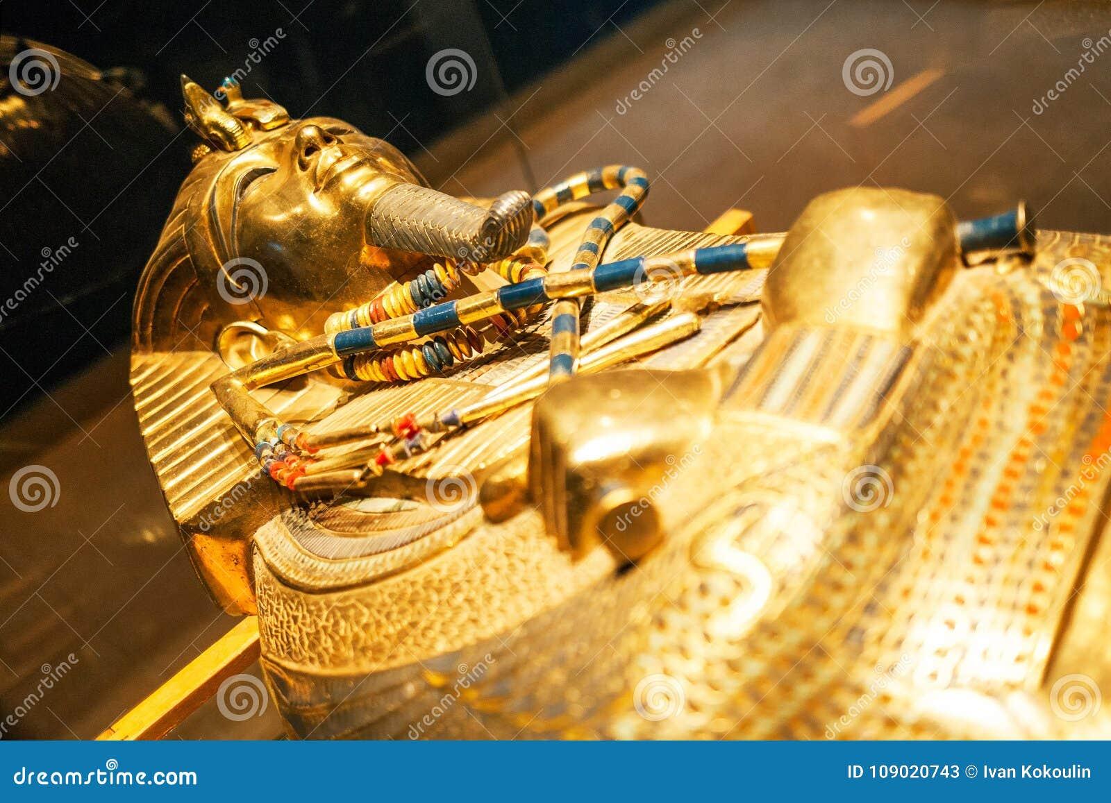 Original gold mask of the pharaoh in museum