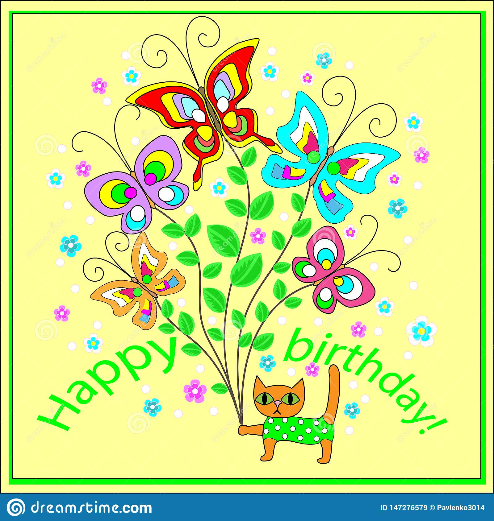 Original Greeting Card With A Happy Birthday Bouquet Of Merry Fluttering Butterflies Creating