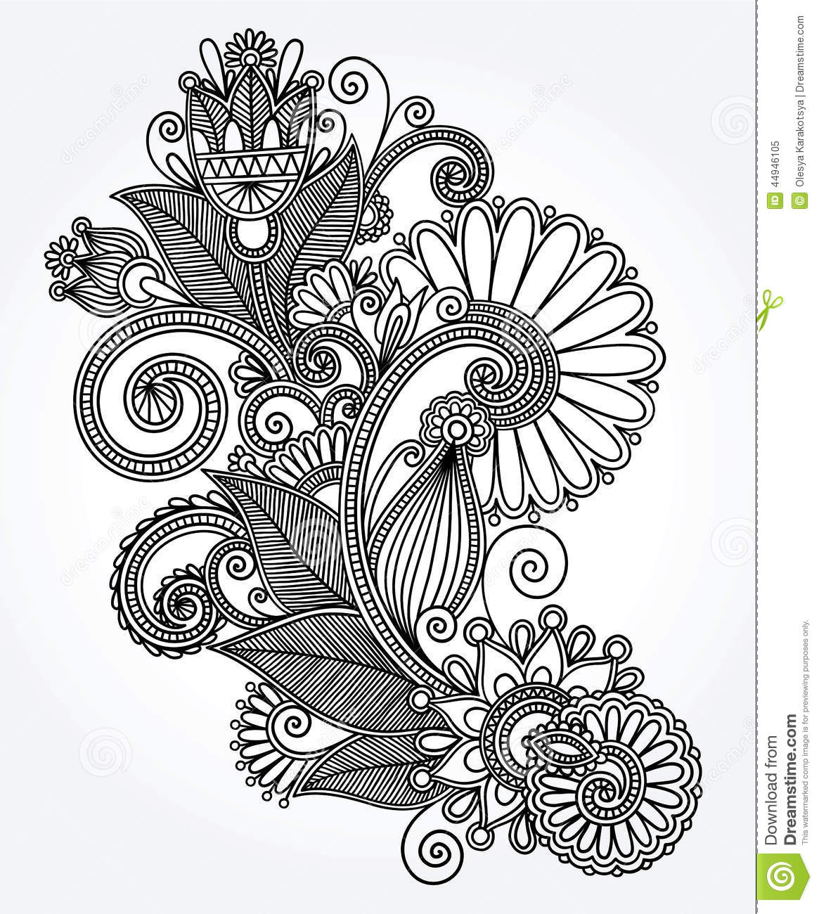 Line Art Design Flower : Original hand draw line art ornate flower design stock