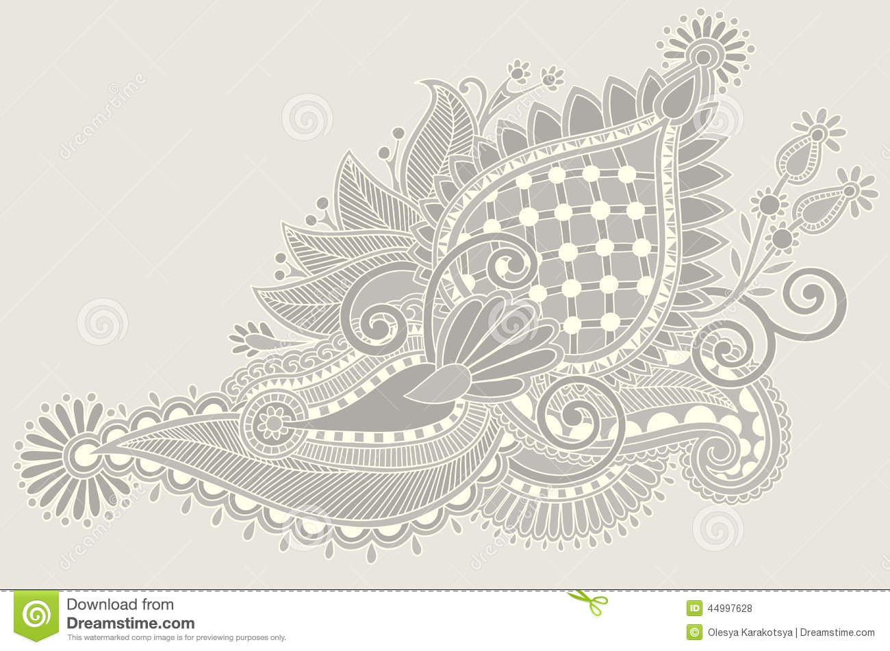Traditional Flower Line Drawing : Original hand draw line art ornate flower design stock
