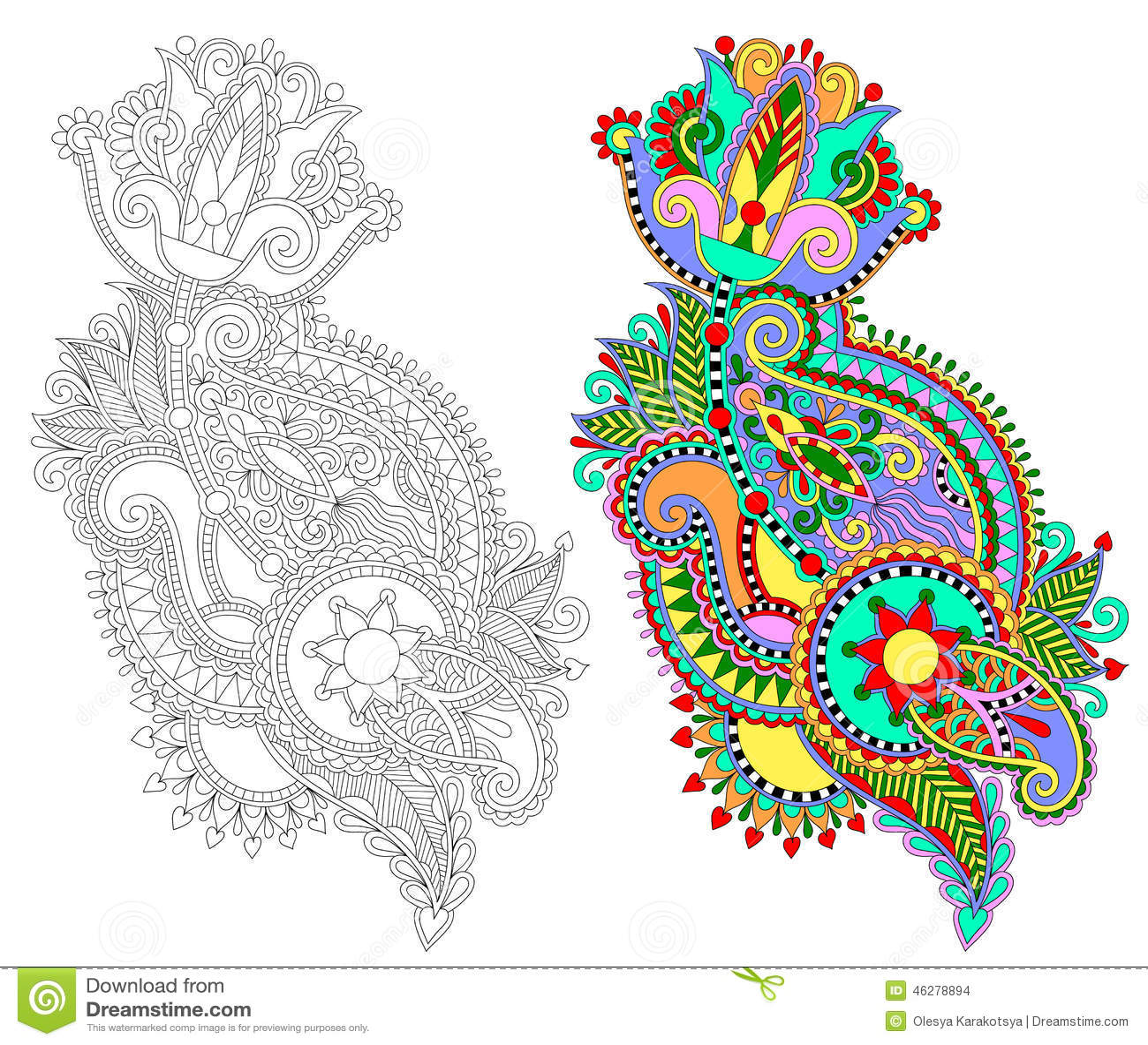 Line Art Ornate Flower Design : Line art ornate flower design vector illustration