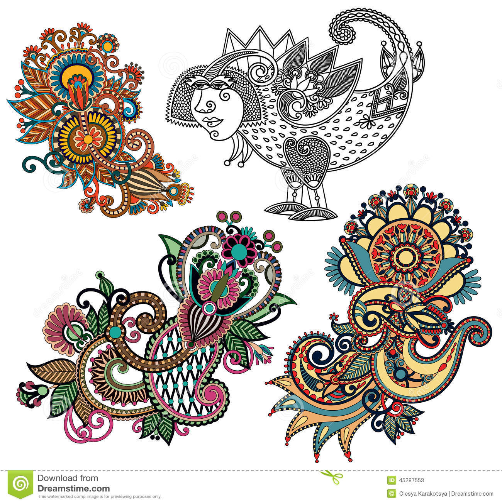 Line And Art Design Srl : Original hand draw line art ornate flower design stock