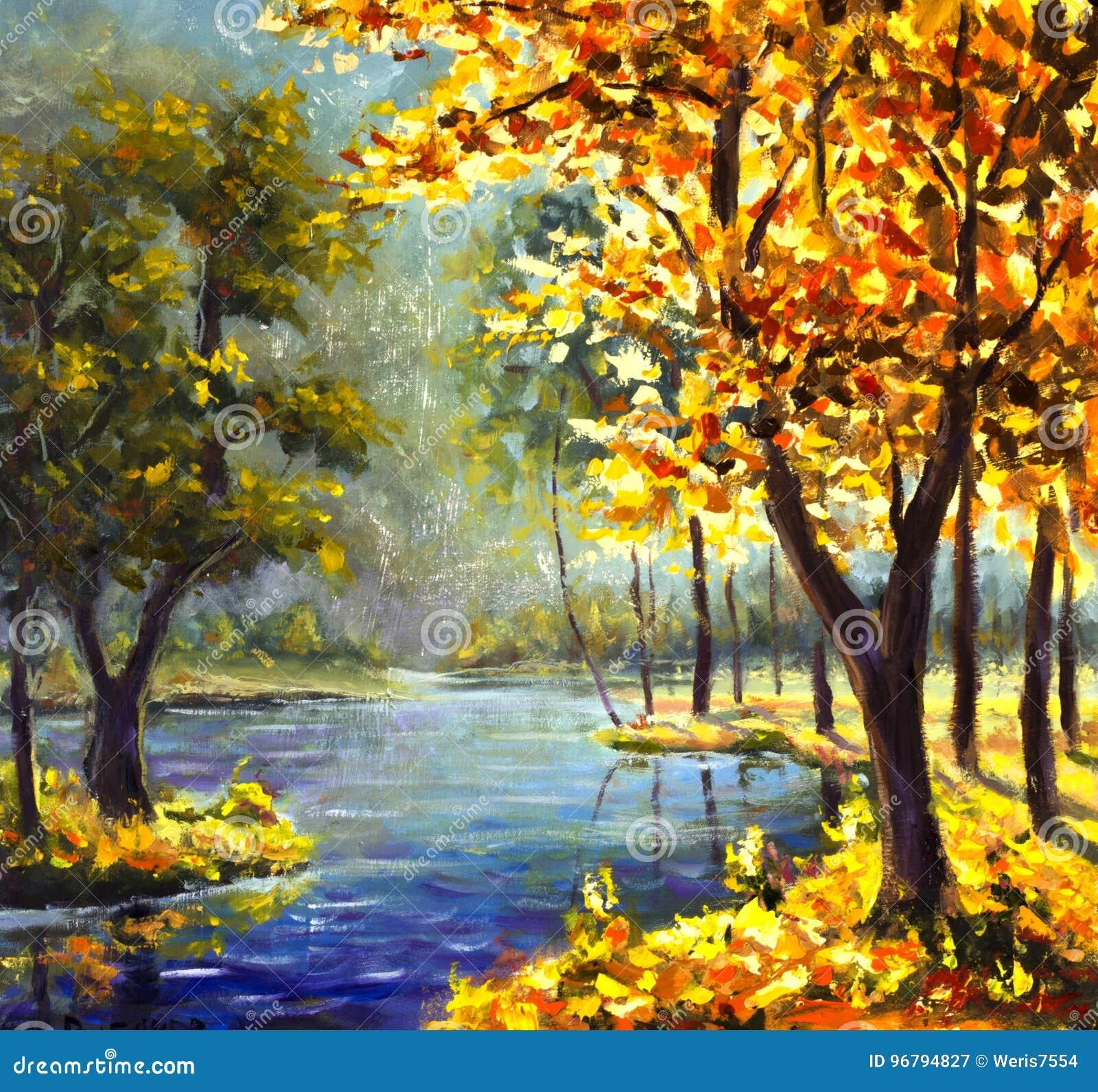 Original Handpainted Oil Painting Sunny Big Autumn Orange Tree ...