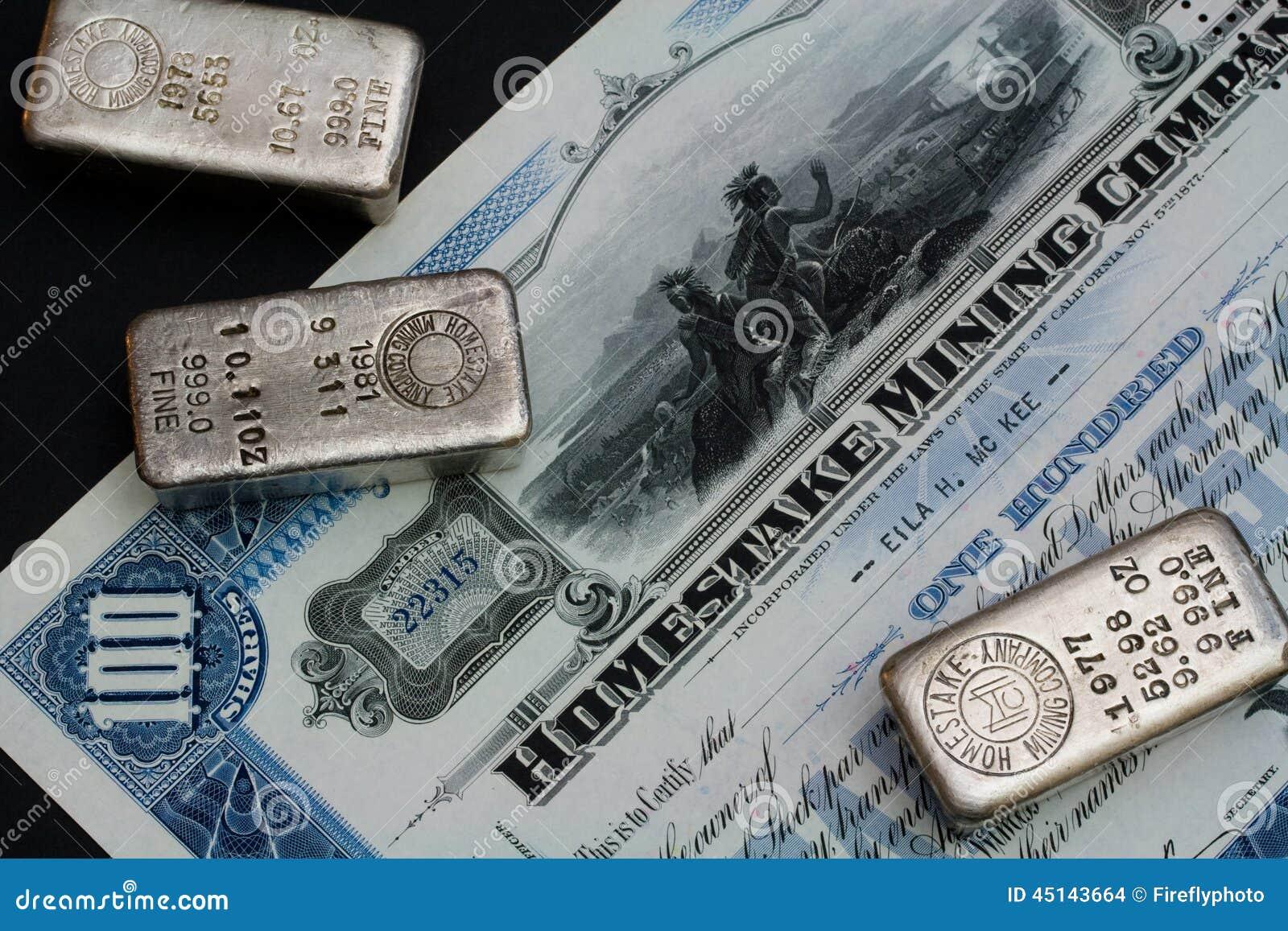 Original Homestake Mining Company Stock Certificate And