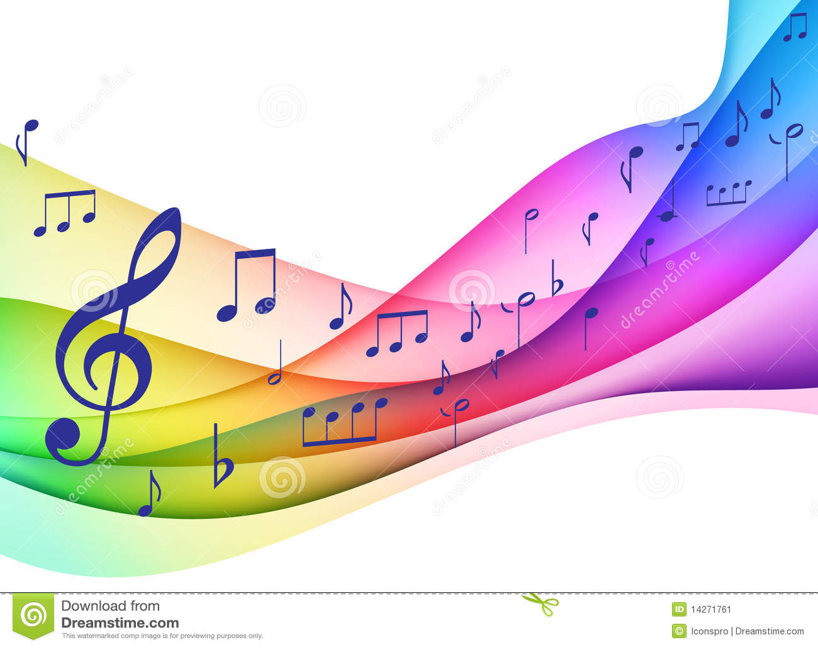 Original Illustrati de notes musicales de spectre de couleur