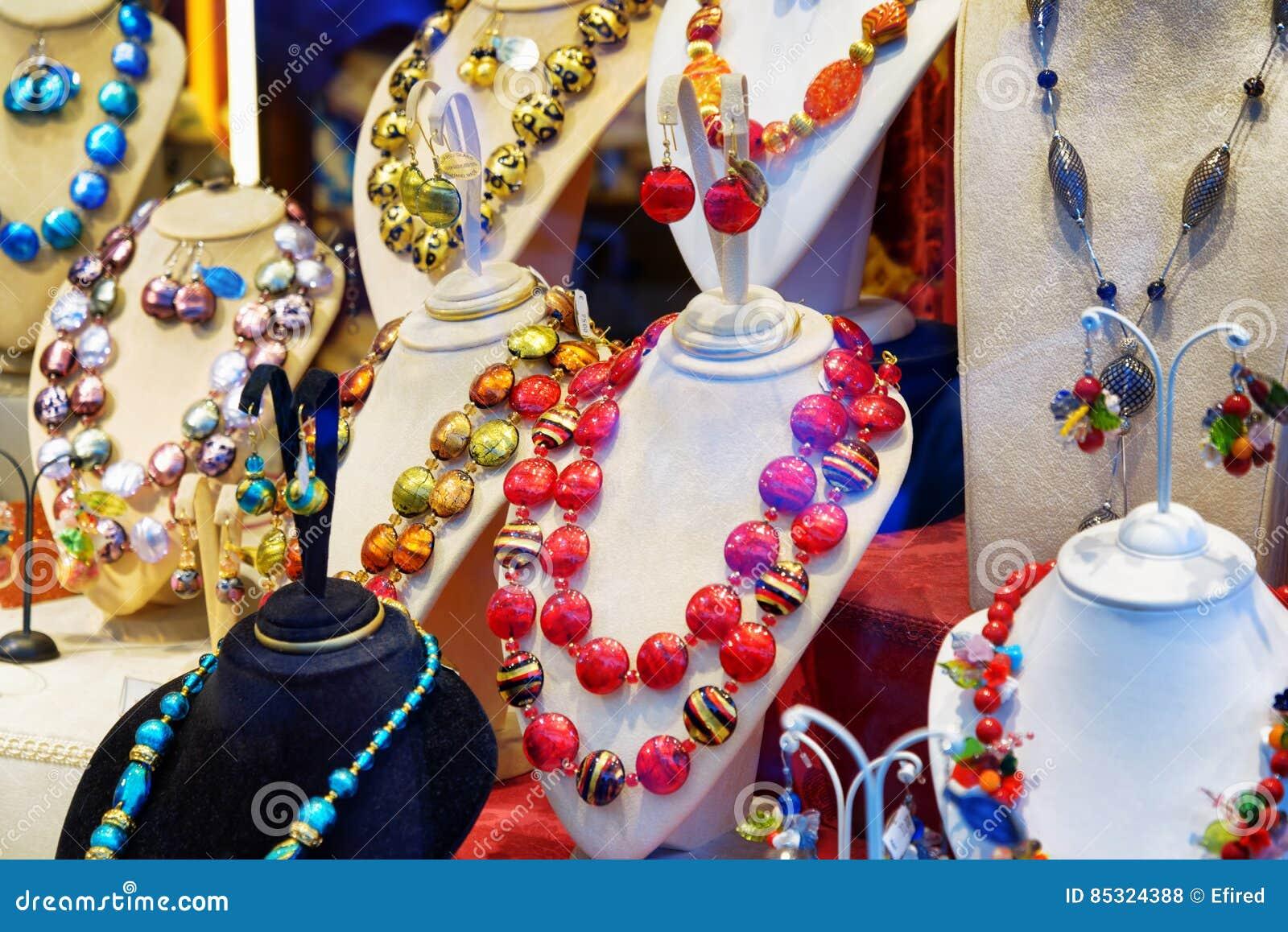 cf30173b7ad1 Original Jewelry From Murano Glass In Shop Window