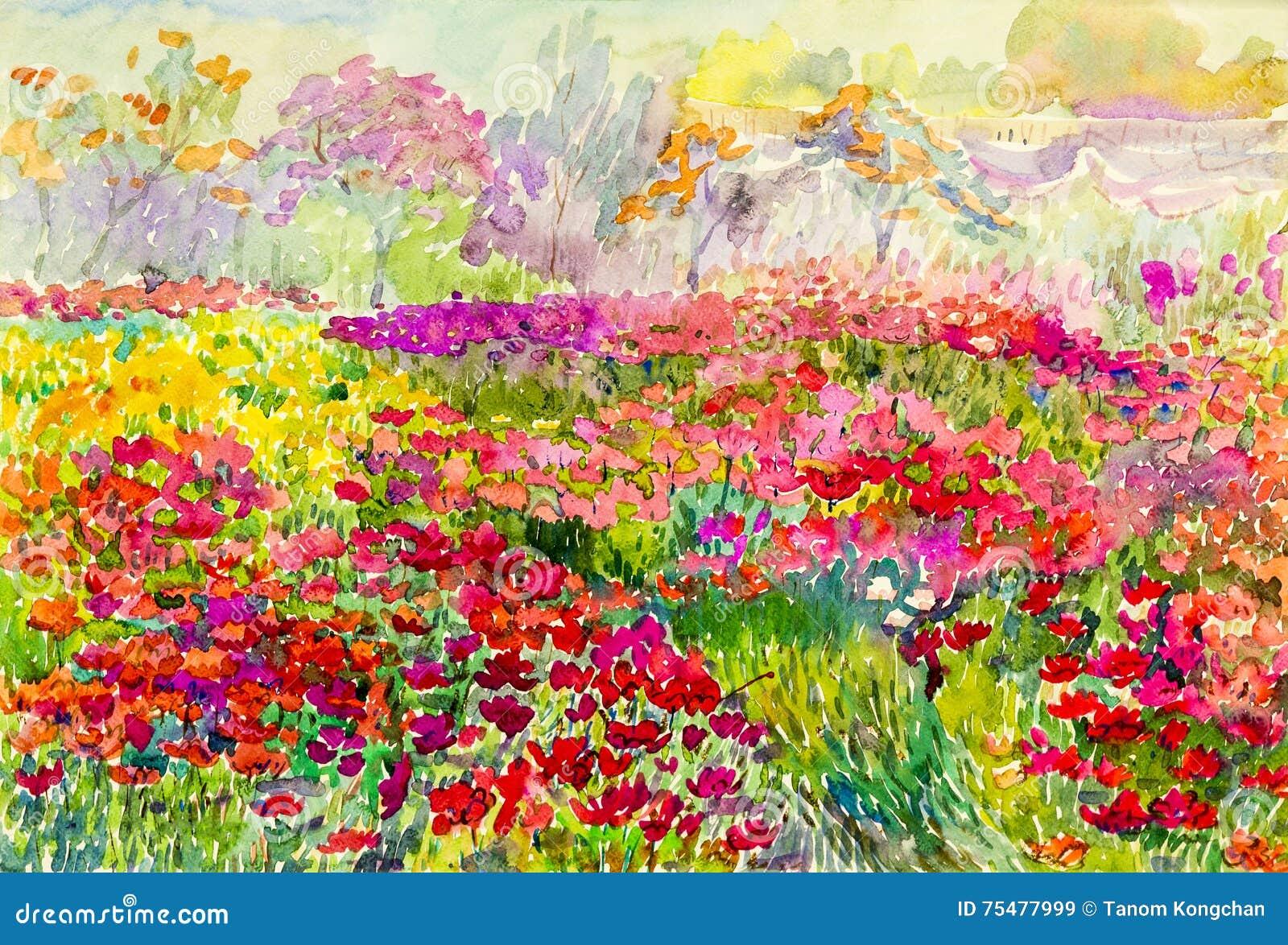 Original- landskap för vattenfärgmålning som är färgrikt av blommafält i trädgård
