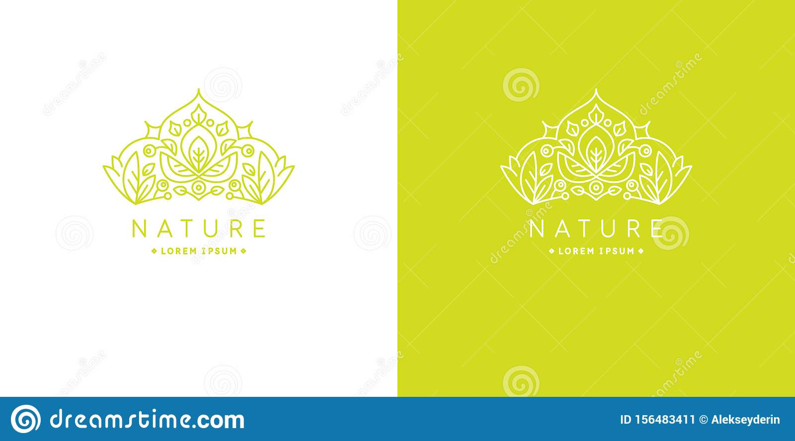 Original linear image of the crown. Illustration in simple flat style. Sign for natural cosmetics shop