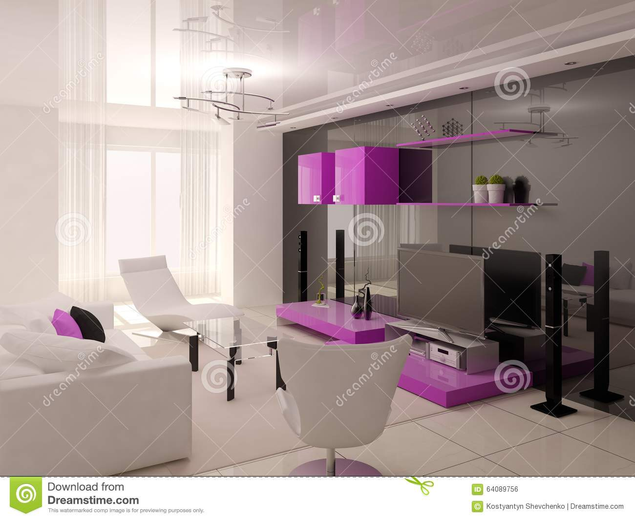 original living room hi tech stock illustration image 64089756. Black Bedroom Furniture Sets. Home Design Ideas