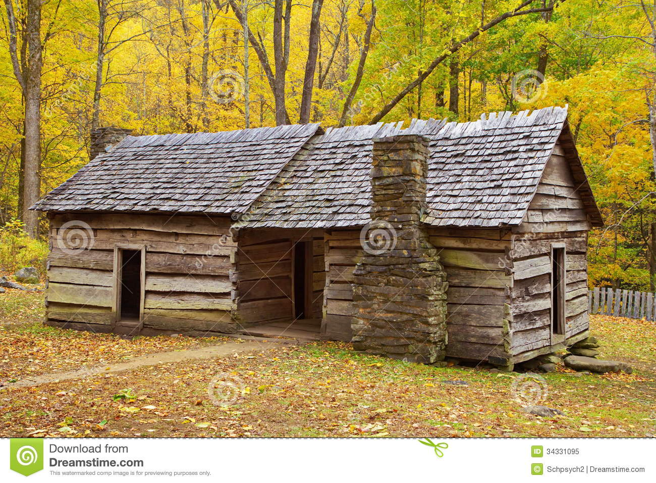 Log Cabin In Smoky Mountains During Autumn Royalty Free