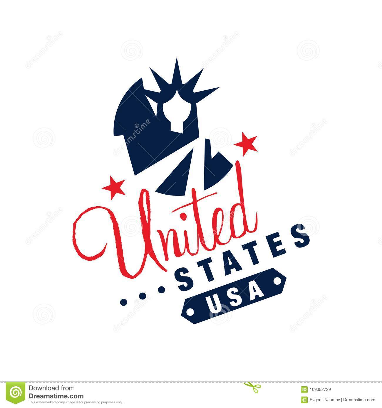 original logo template with monochrome symbol of usa abstract