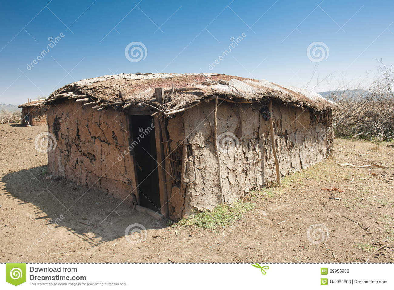 Masai hut stock photo. Image of women, roof, destitution ...