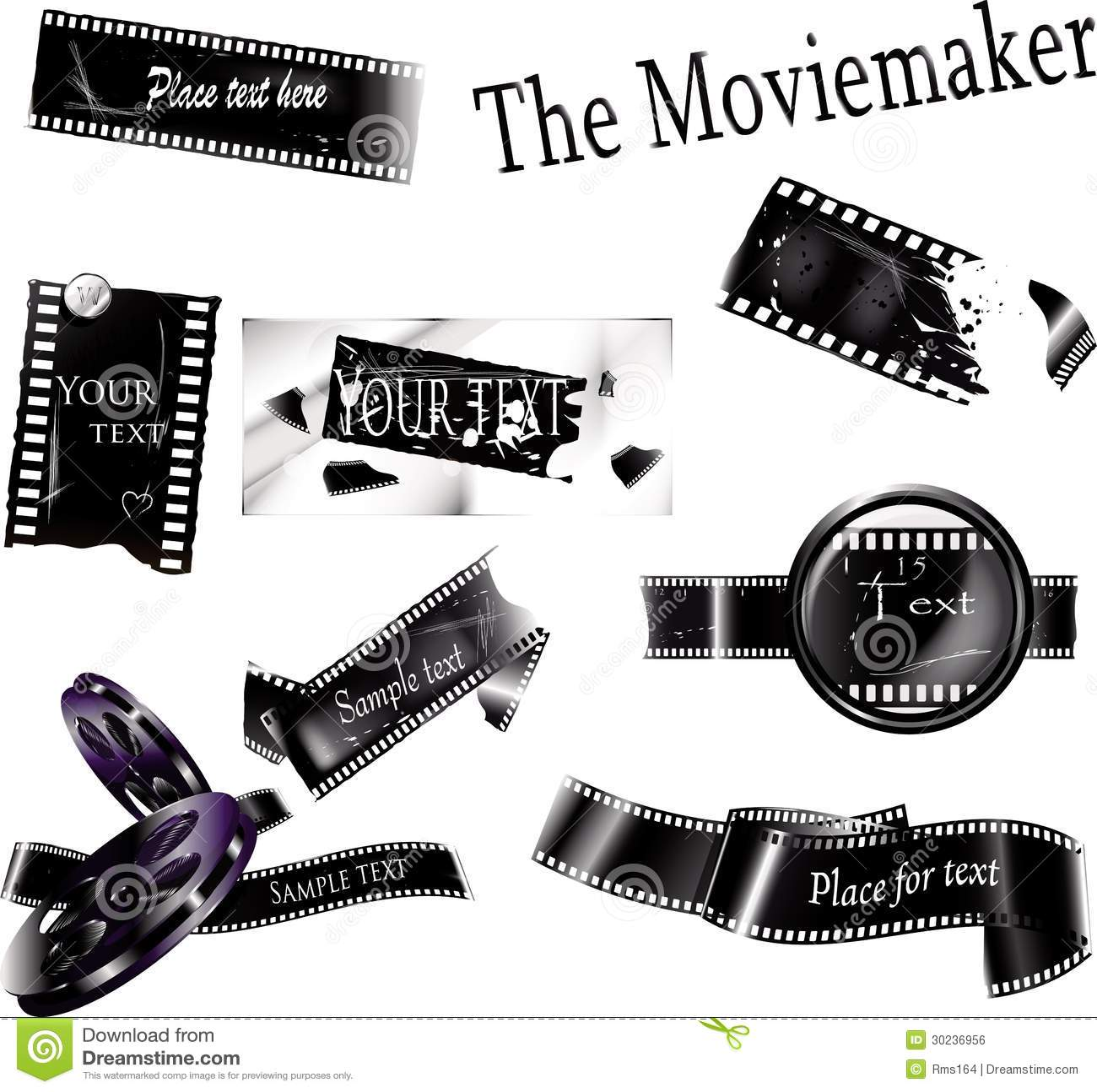 Movie frames stock vector. Illustration of blank, grey - 30236956