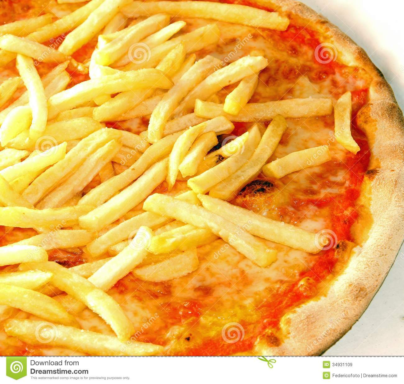 Original neapolitan pizza with french fries royalty free for Pizza original