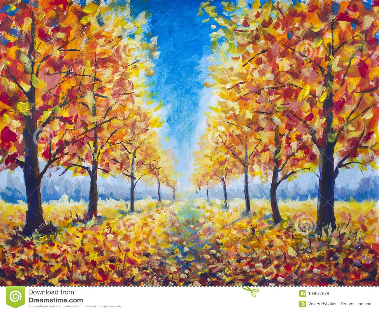 Original Oil Painting Autumn parkway, orange gold yellow dark trees in autumn park, golden autumn walkway, orange autumn nature. R
