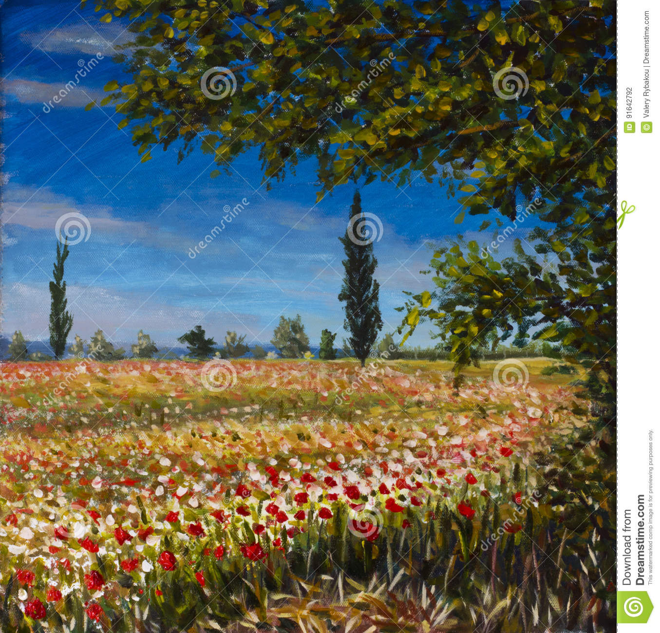 Original Oil Painting On Canvas. Beautiful French Landscape, Rural Landscape Field Of Red Poppies Landscape. Modern Impressionism Stock Photo