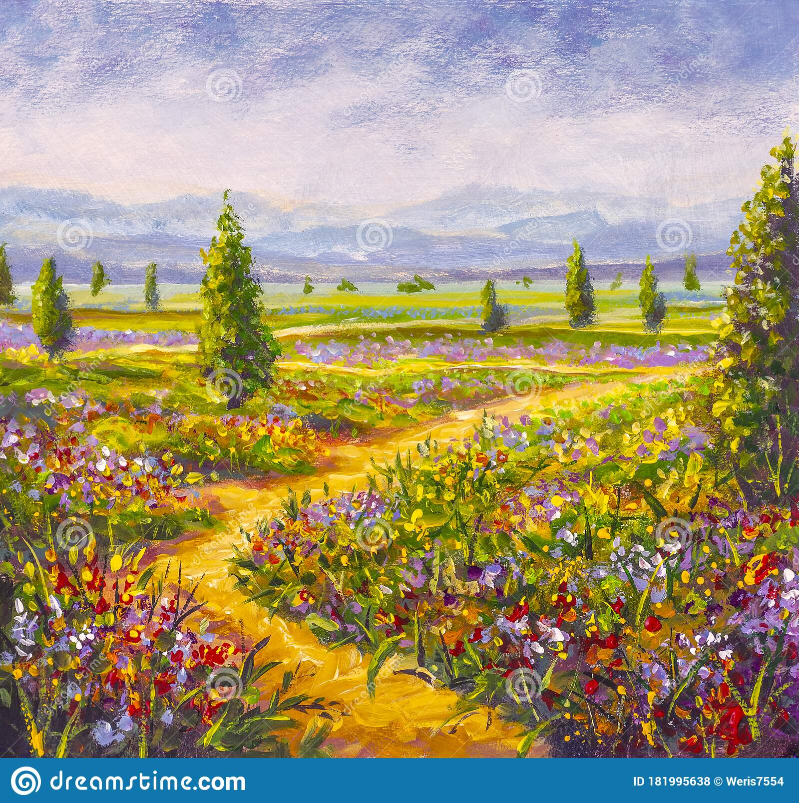 Original Oil Painting Of Country Road In Flowers Fields Stock Photo Image Of Paint Flower 181995638