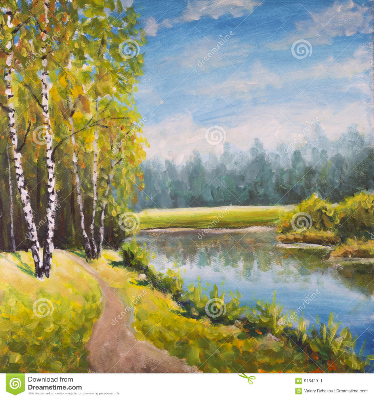 Original oil painting summer landscape, sunny nature on canvas. Beautiful far forest, rural landscape landscape. Modern impressio