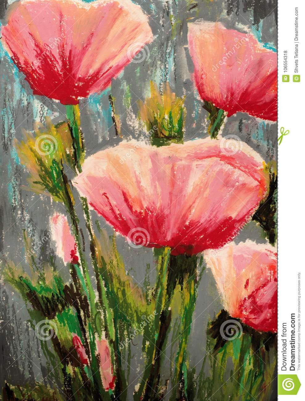 Flowers Field Poppies Original Oil Pastel Painting