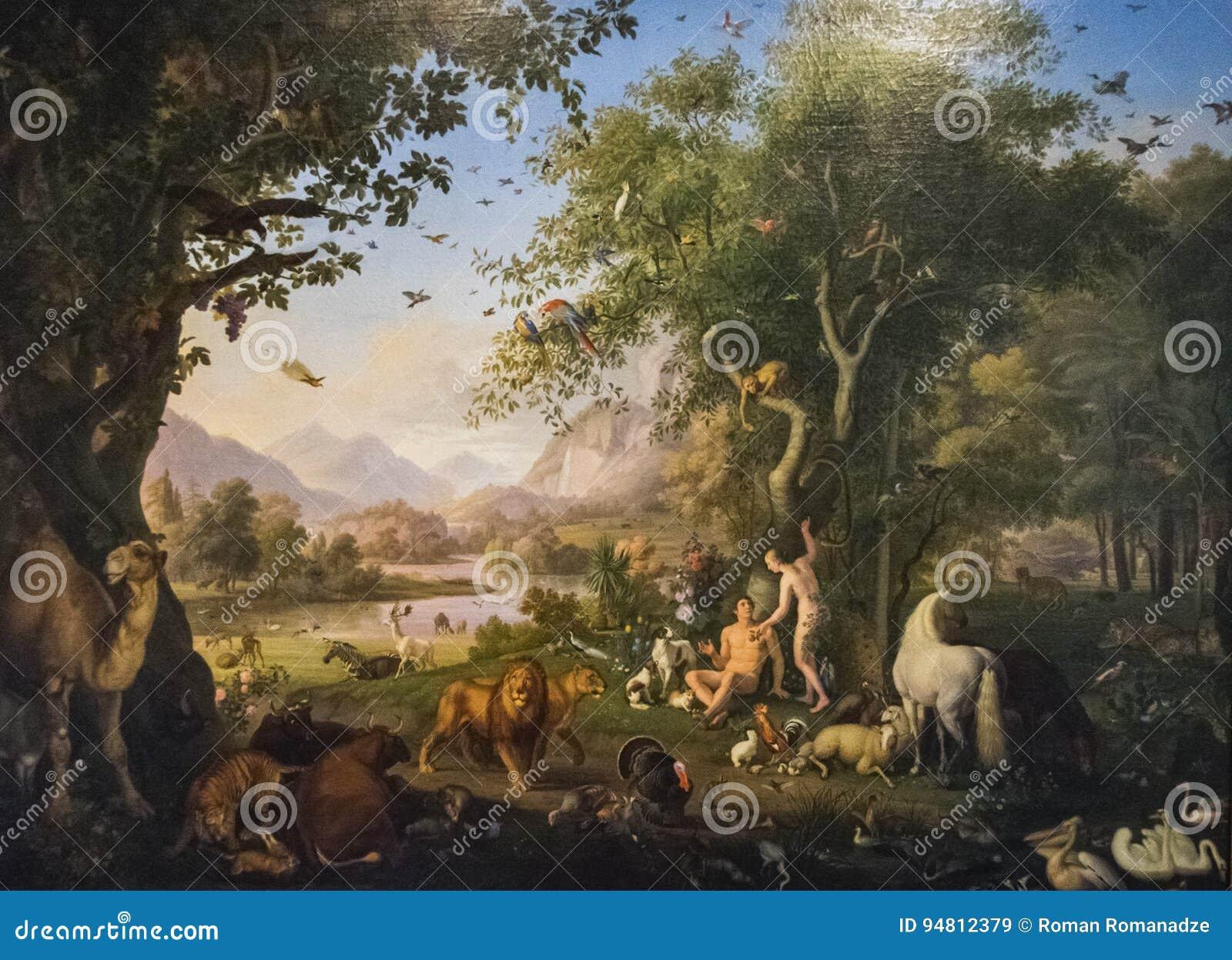 Original Painting Adam And Eve In The Garden Of Eden Editorial Stock ...