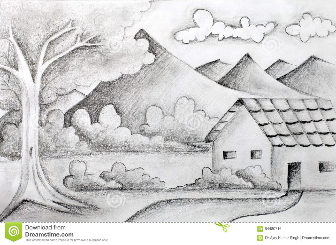 A pencil sketch of mountains tree and cloud drawn