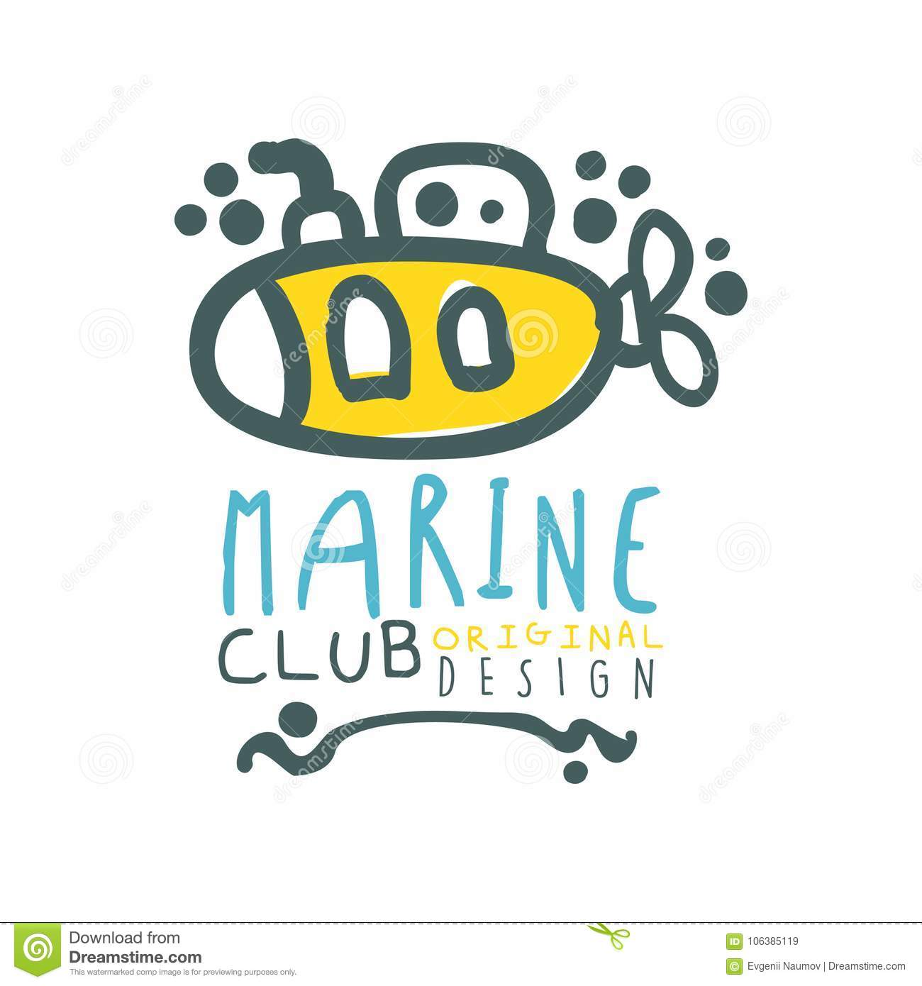 original sea club logo design template with lettering and submarine