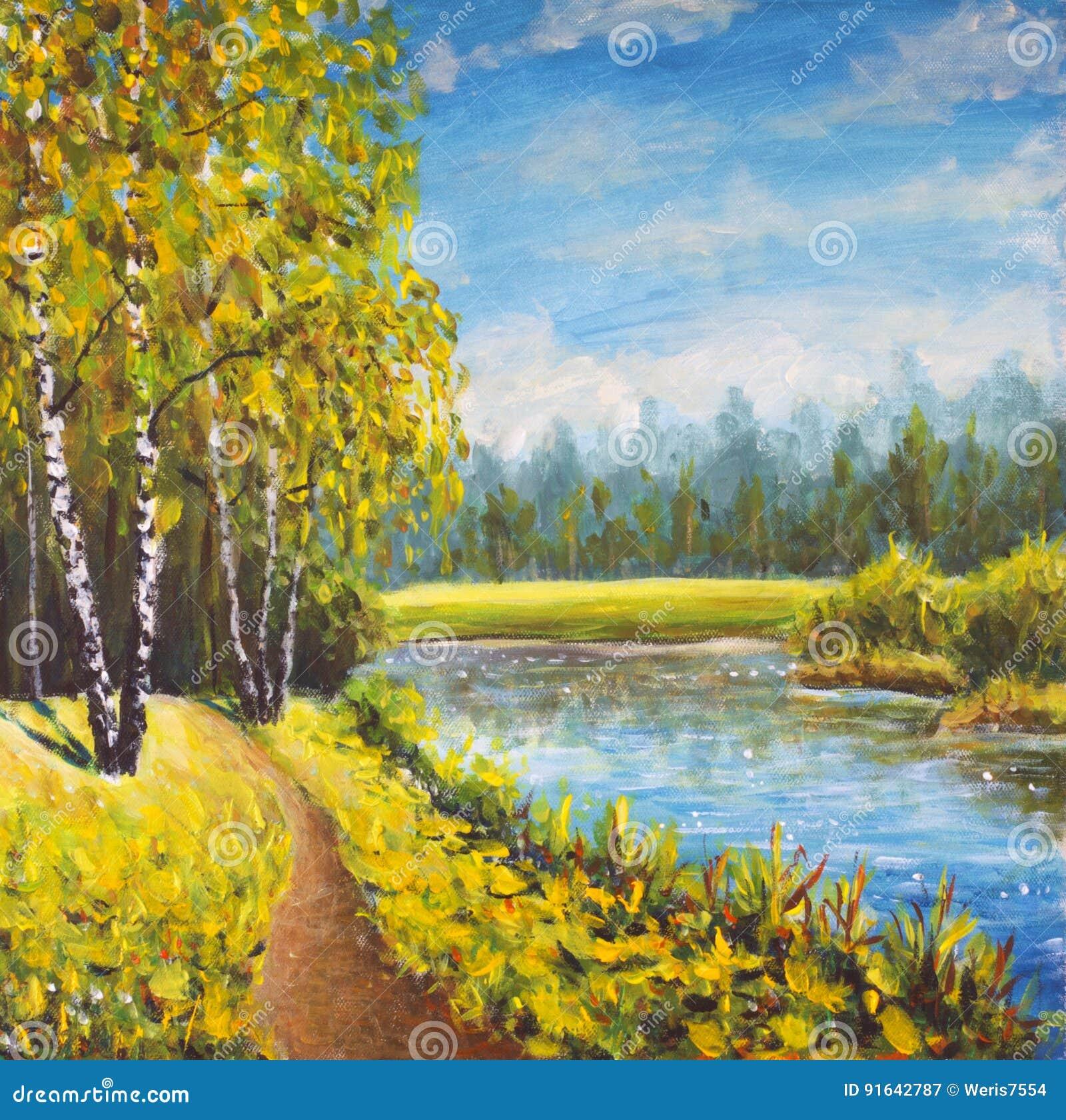 Original- sommarlandskap för olje- målning, solig natur på kanfas Härlig avlägsen skog, lantligt landskap Modern impressionismkon