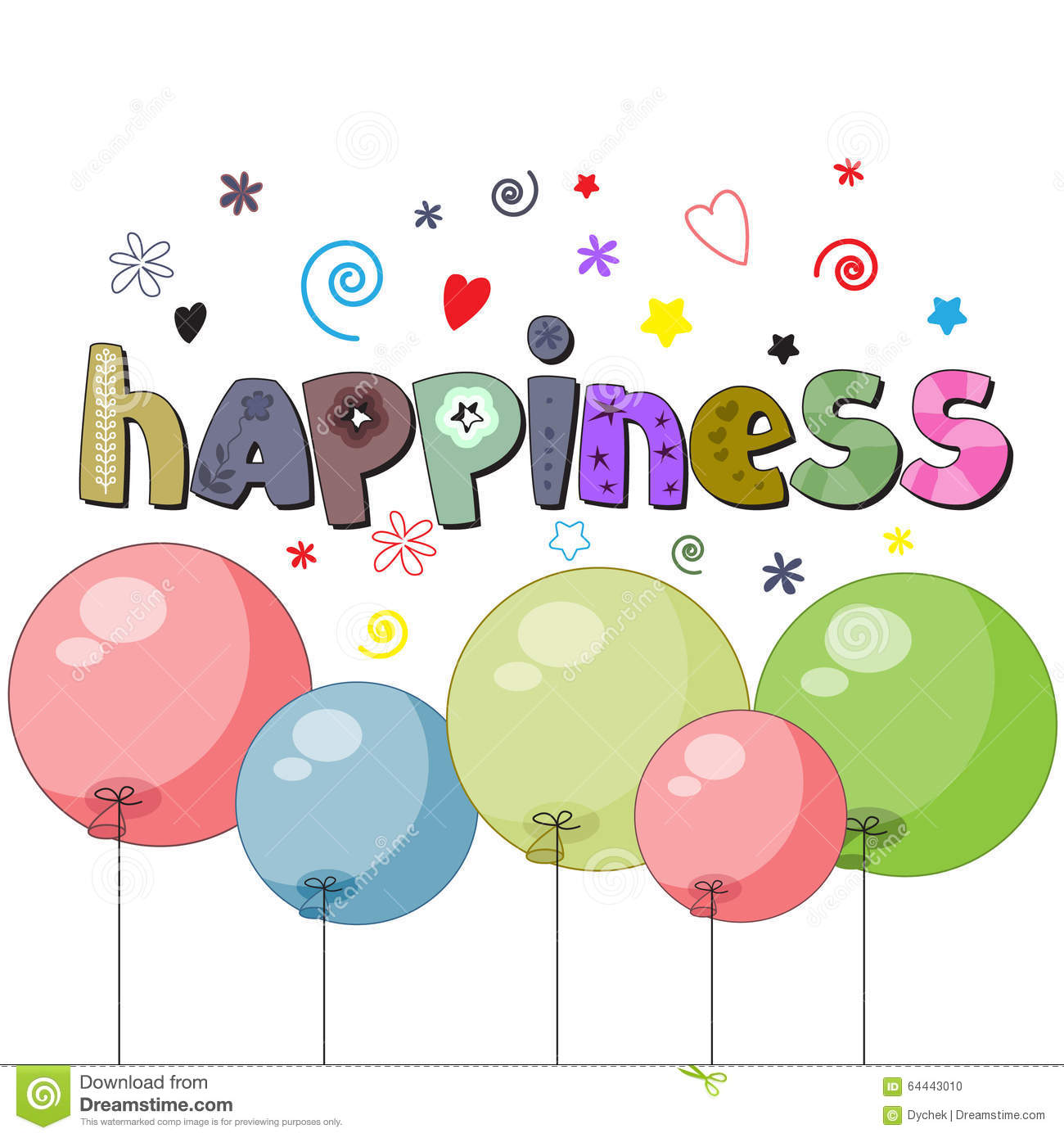 A Word Of Happiness: The Original Spelling Of The Word Happiness. Stock Vector