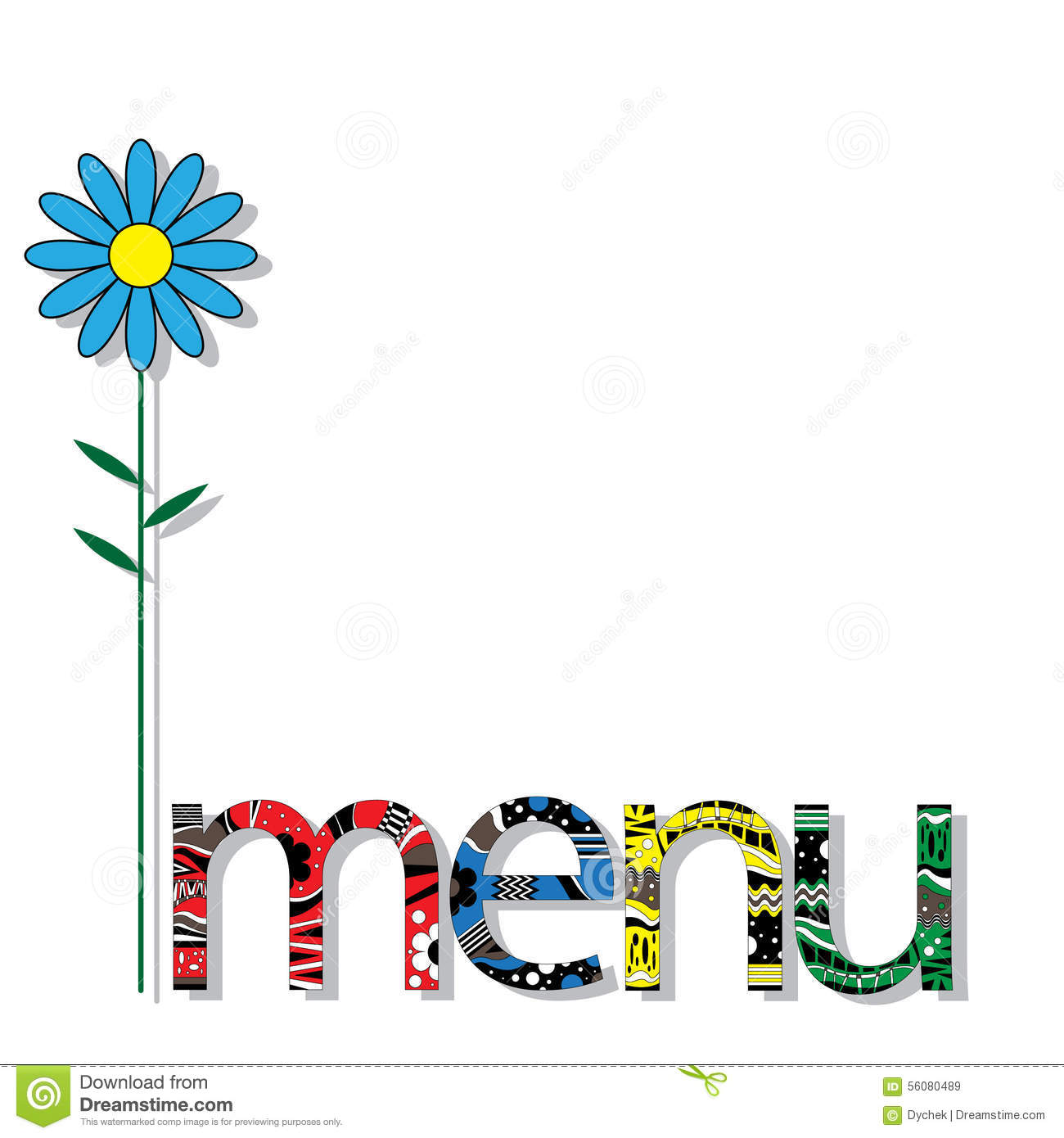 The Original Spelling Of The Word Menu. Stock Vector - Image: 56080489