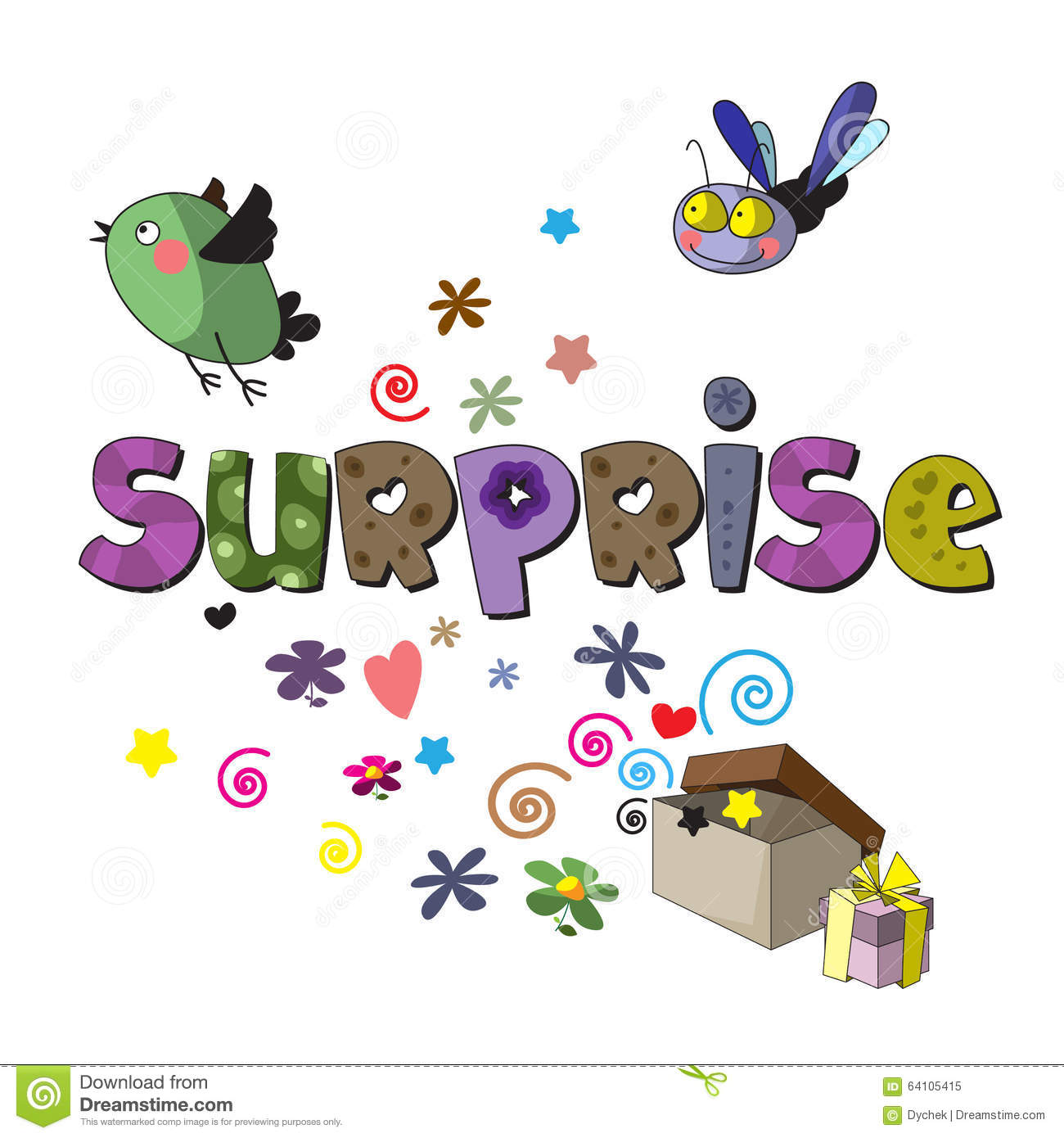 the original spelling of the word surprise stock vector