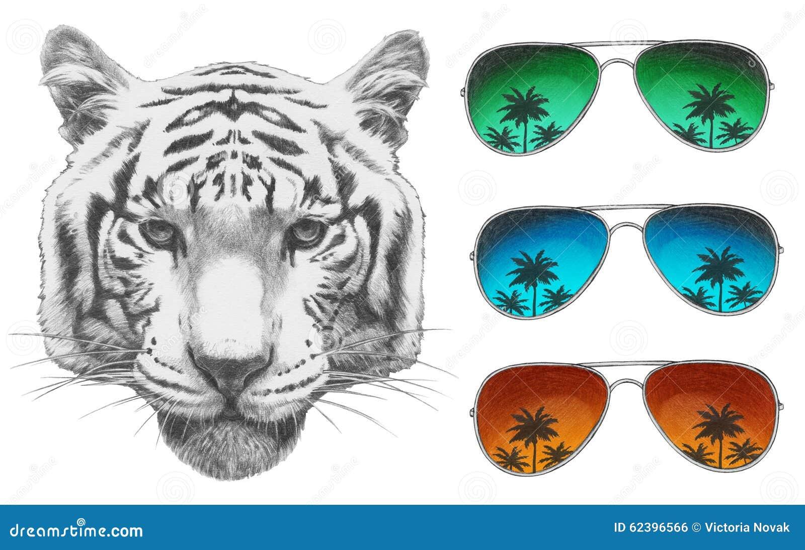 Original- teckning av tigern med spegelsolglasögon