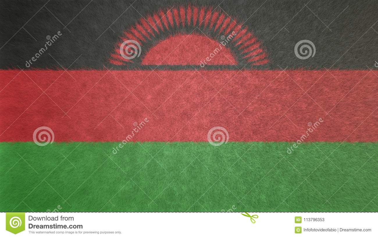 Original Texture 3d Image Of The Flag Of Malawi Stock Illustration