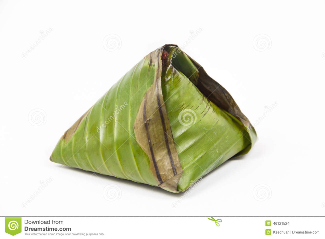 Original Traditional Nasi Lemak Wrapped In Banana Leaf Stock Photo