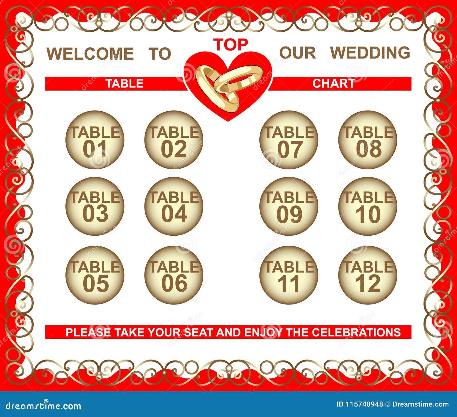 Wedding Frame, Seating Plan, Table Chart Stock Vector - Illustration ...