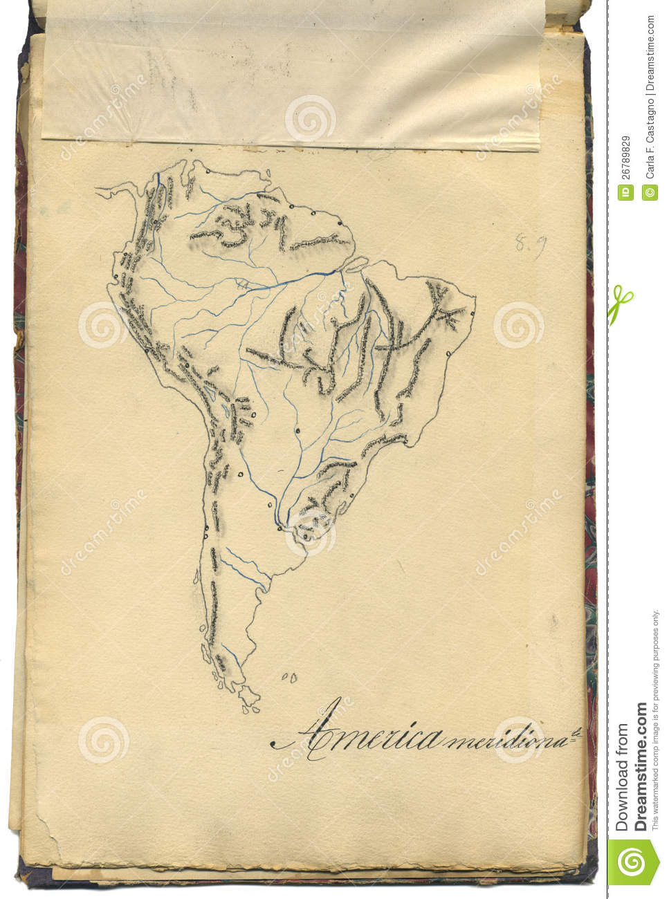 Original Vintage Map Of South America Stock Image - Image of guyana ...